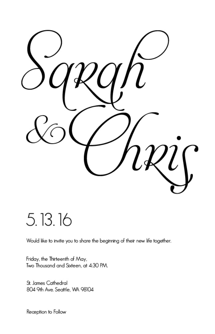 Print: Fancy Font Free Printable Wedding Invites