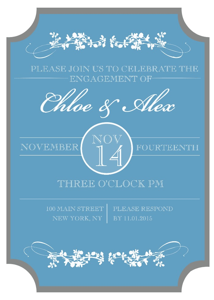 Print: Sophisticated Engagement Party Free Printable Invitation
