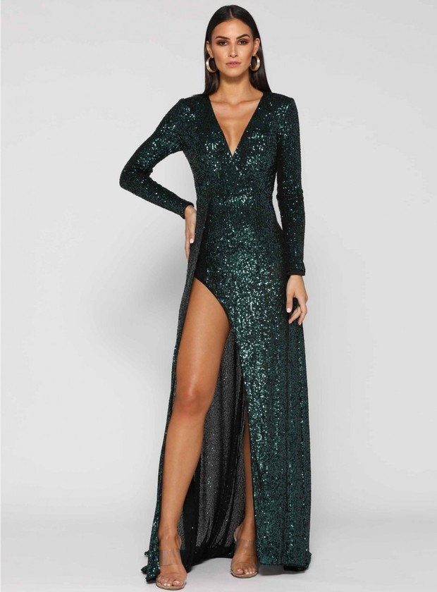 White Runway emerald sequin dress