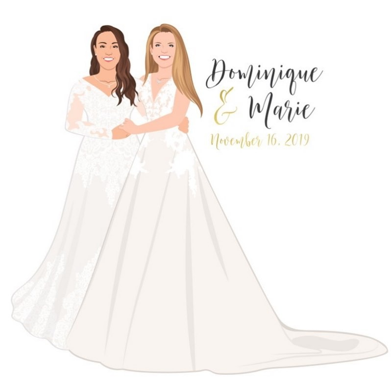 ⁠Happy wedding day to these two stunning brides! Seriously, those dresses are giving us serious heart eyes, and we can only imagine