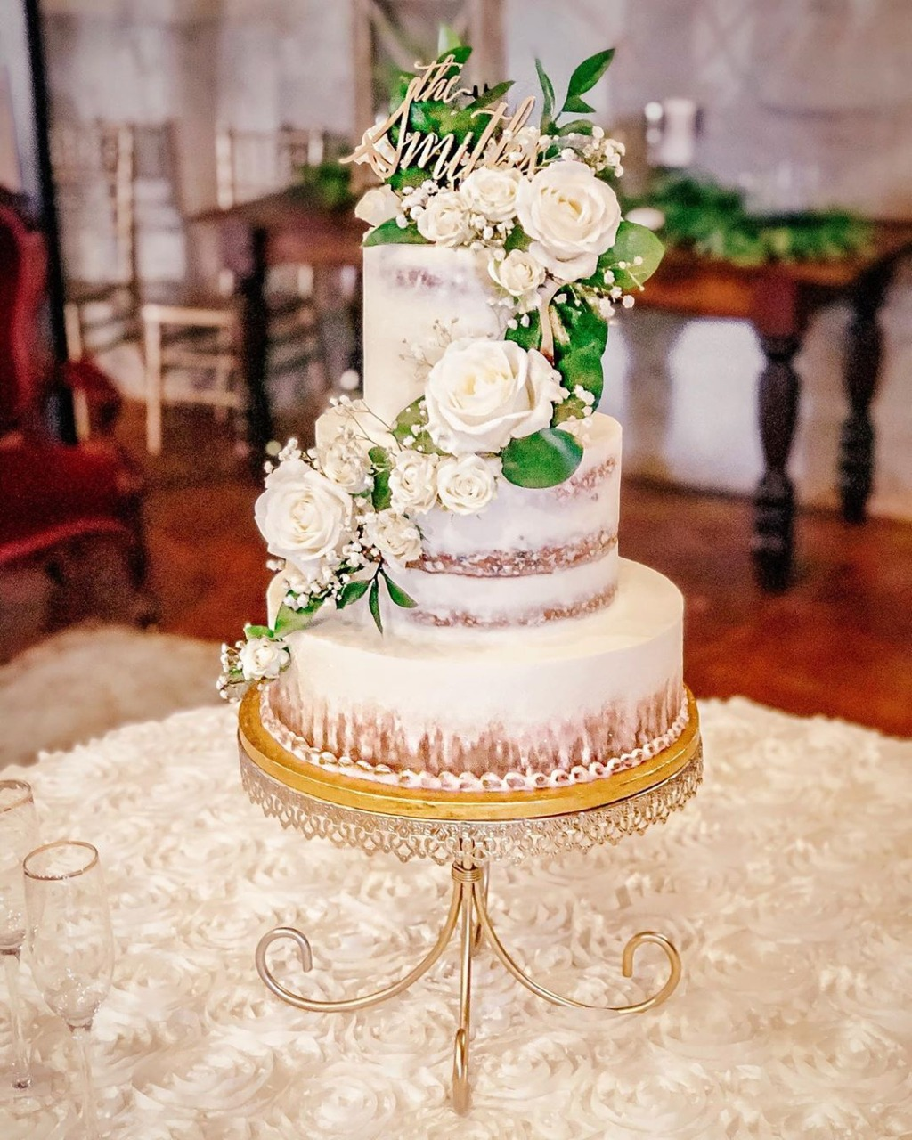 Pretty Little Details! Wedding cake by Charmed Cakes on a gold wedding cake stand created by Opulent Treasures.