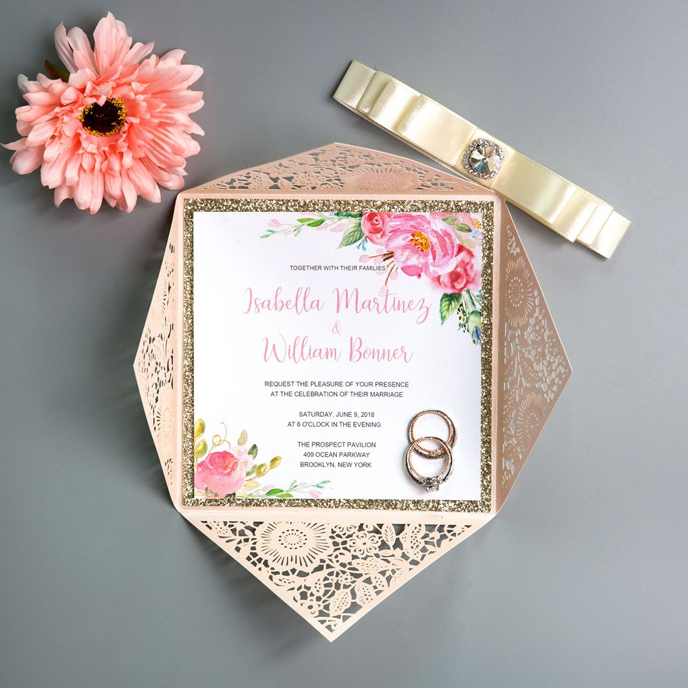 This Blush Shimmer Invitation really features a beautiful Floral Pattern, Crystal Diamante and Silky Ribbon. Perfect for any season