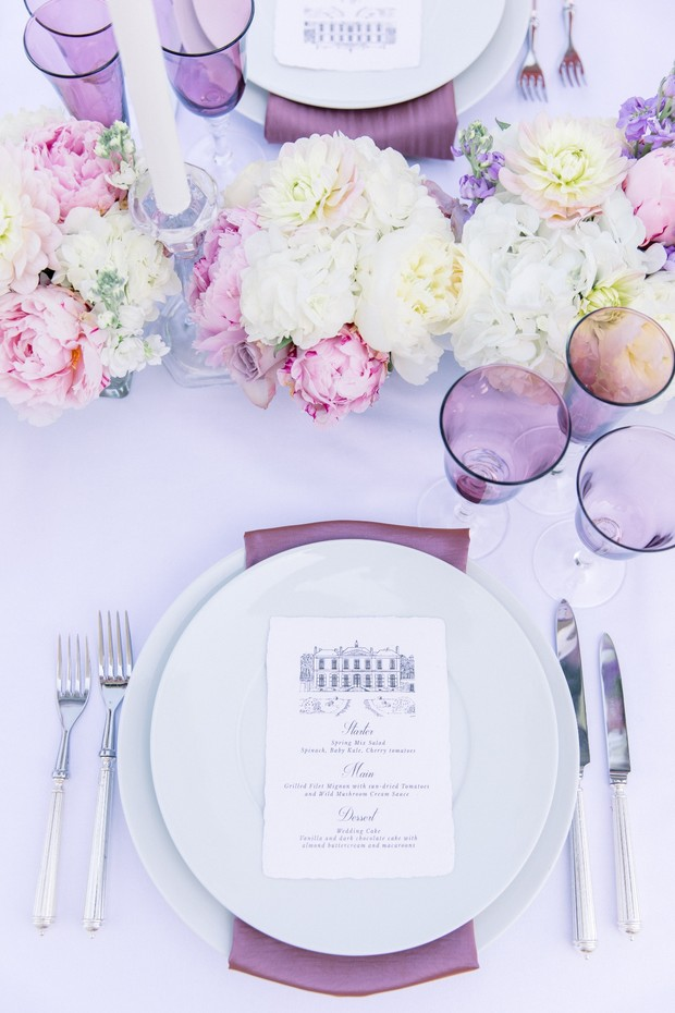 wedding place setting in purple