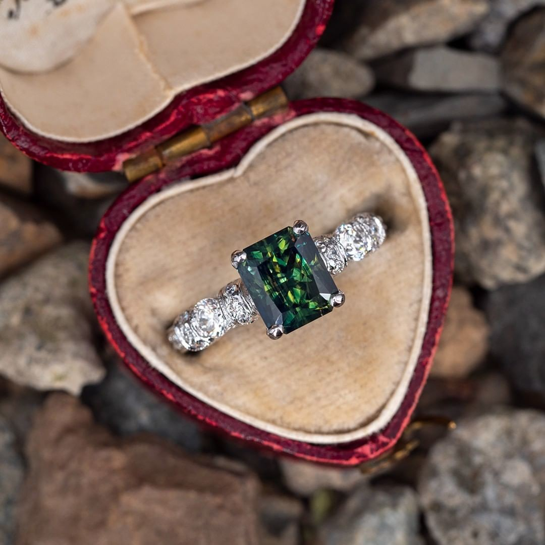 Radiant Cut 2 Carat No Heat Green Sapphire. Tap photo for a link to purchase. Sku AT60255.