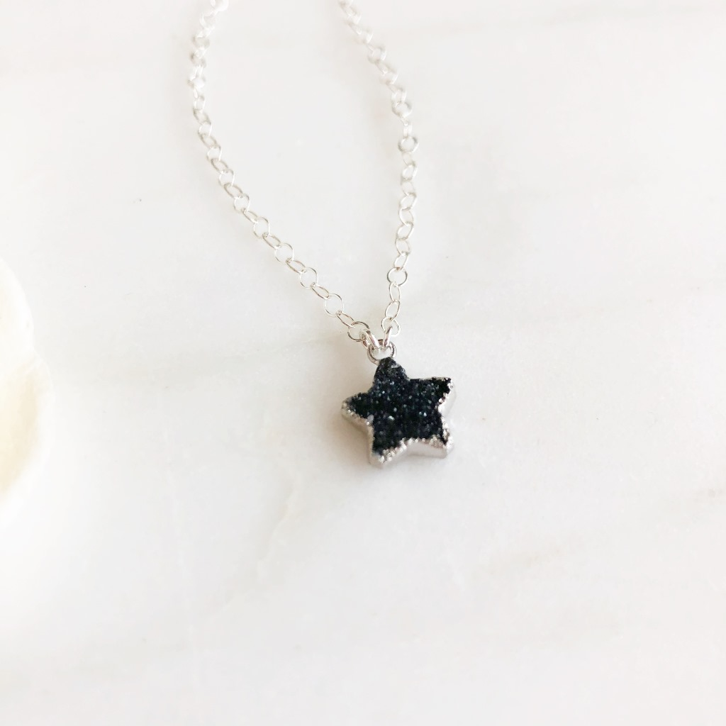 So versatile and the perfect layering piece! The star is black druzy quartz and measures about 18x16mm. The chain is 18 long on dainty