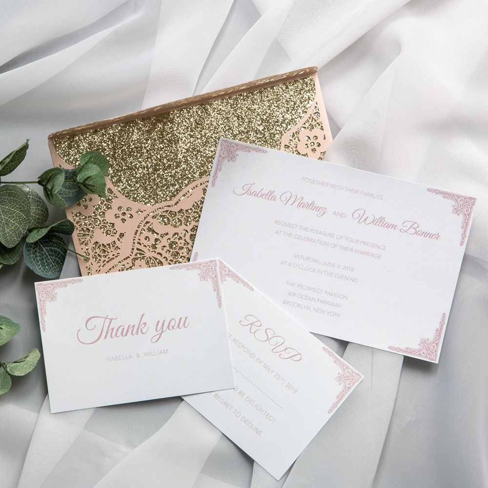 Upfold this delicate blush invitation you will find the dramatically gold glinting back. Yes! Your friends have thousands of reasons