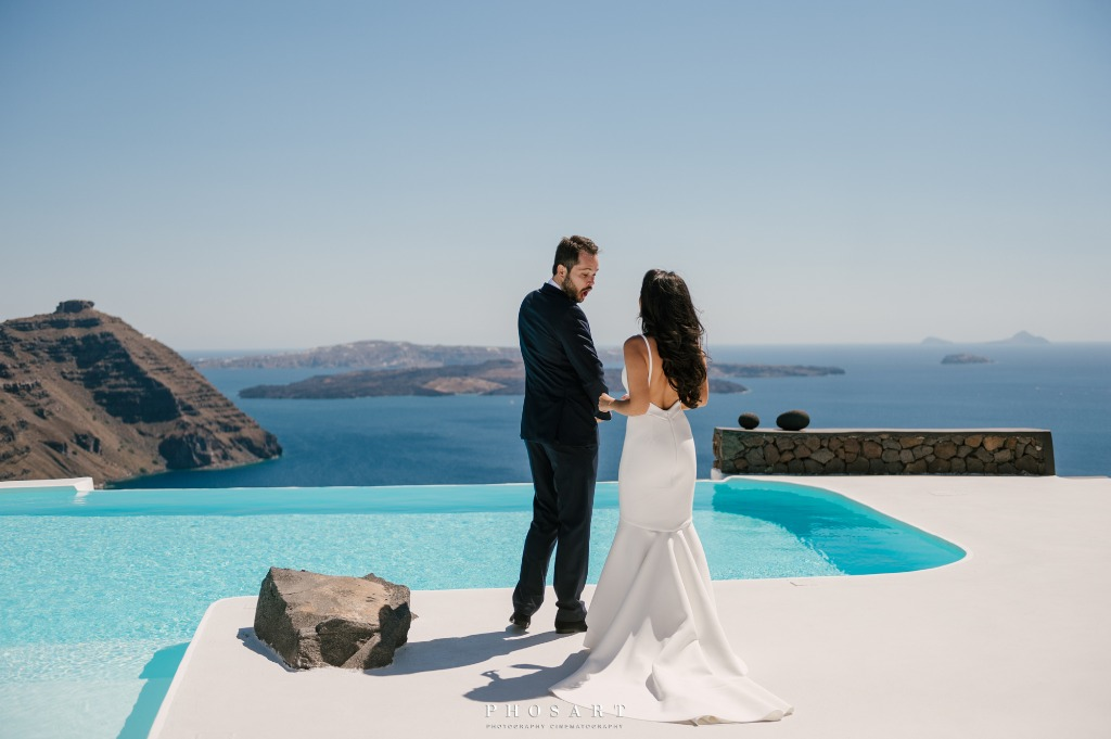 First Look, Wedding Day in Santorini, Greece!