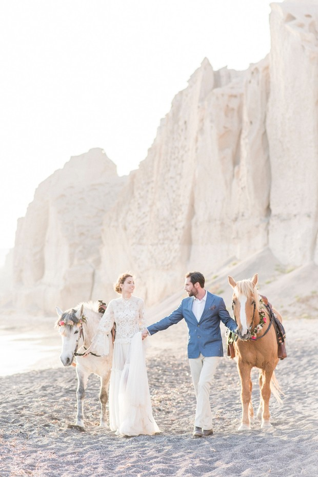 organic beach wedding with horses