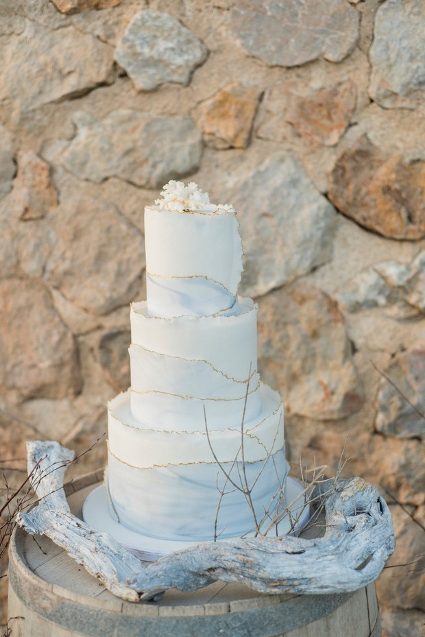 marble fringe wedding cake