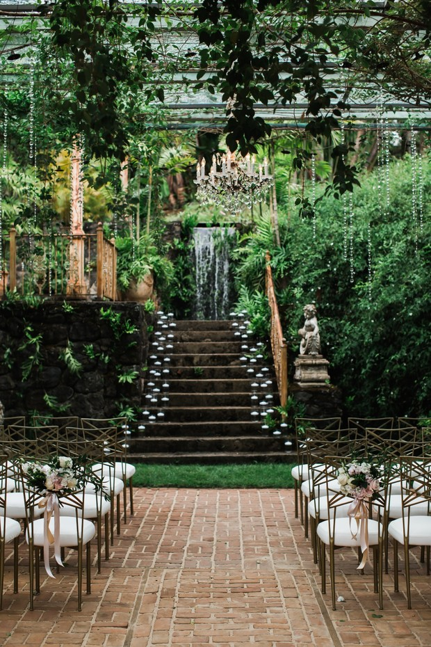 dramatic overgrown wedding ceremony location in Maui Hawaii
