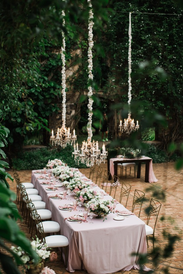 dramatic and glamorous pink and gold wedding reception