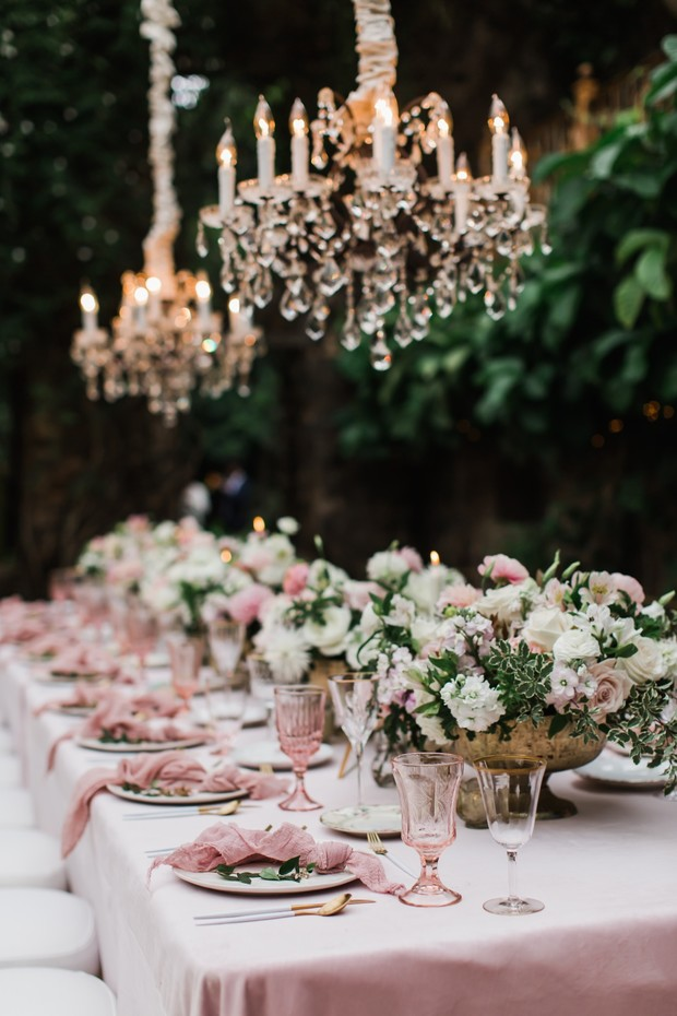 soft pink and gold wedding table decor for your glam tropical wedding
