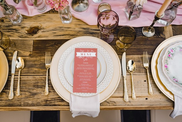 rustic chic table setting in coral and gold