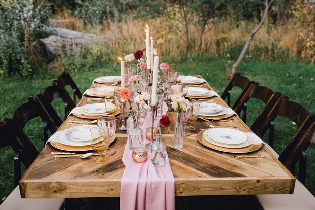 rustic chic gold and pink reception table decor