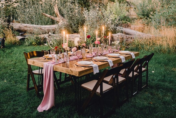 soft pink and gold candle lit wedding table decor for Fall
