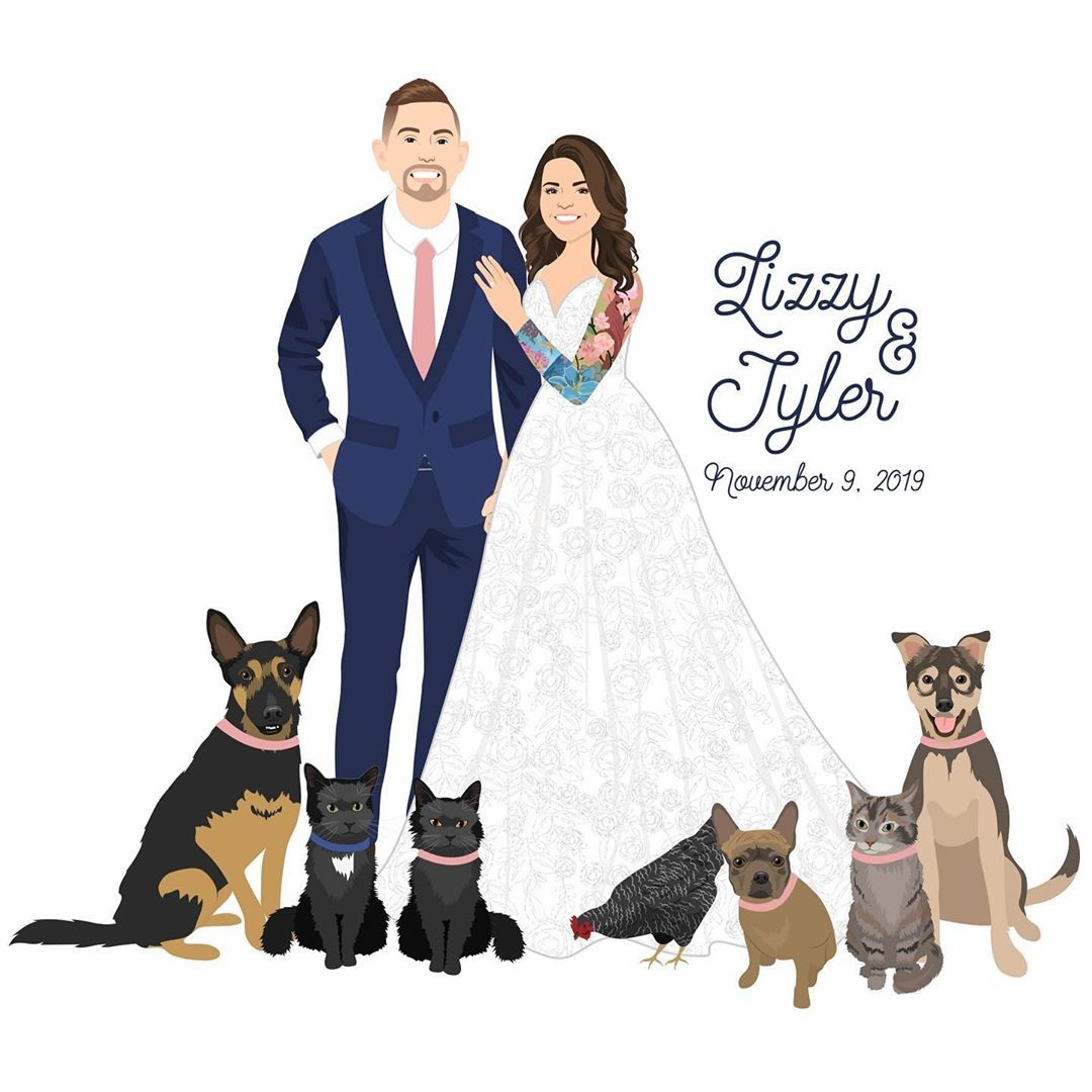 Lizzy and Tyler had to include all of their fur babies (even one of their feathery babies too) in their custom design! And when you