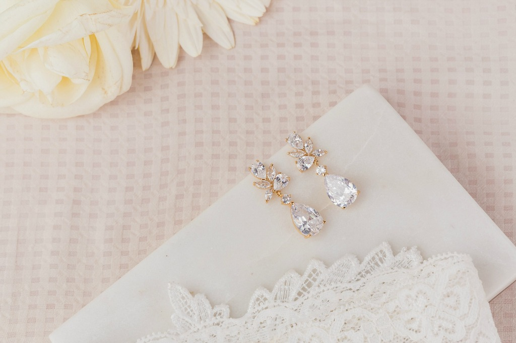 The Charlotte bridal earrings feature sparkling cubic zirconia stones that will have you glowing on your big day. Wink of Pink Shop