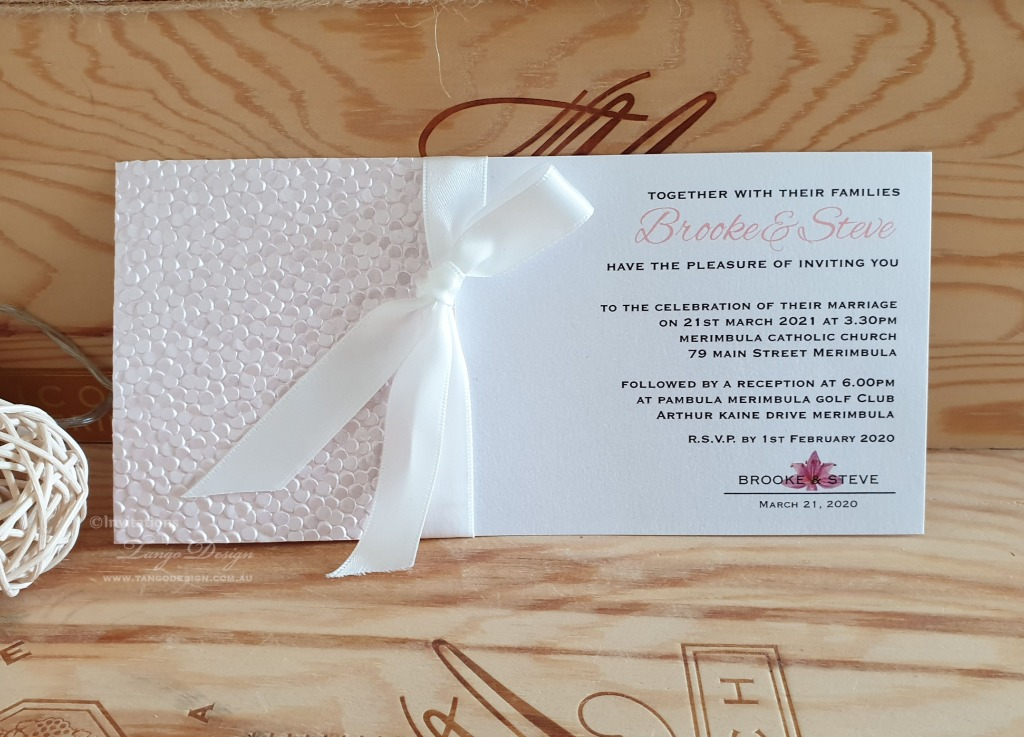 Blush simple wedding invitation