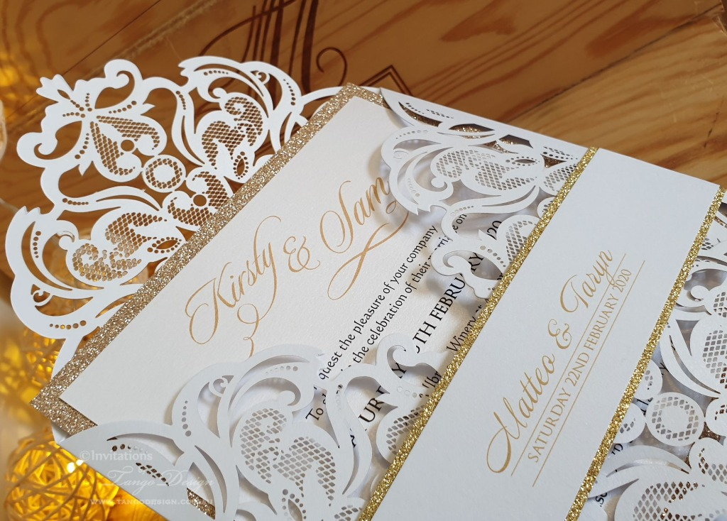 Gold glitter and white laser cut invitation and card