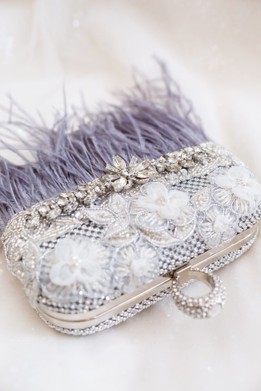 The perfect Mother of the Bride clutch with rhinestone and gray details