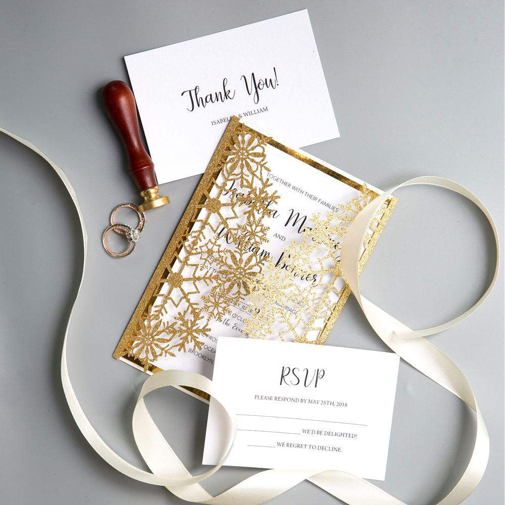This gold shimmer invitation adopts a relaxed swirling pattern. It holds a classical design that is mounted on a Glittery Gold Foil