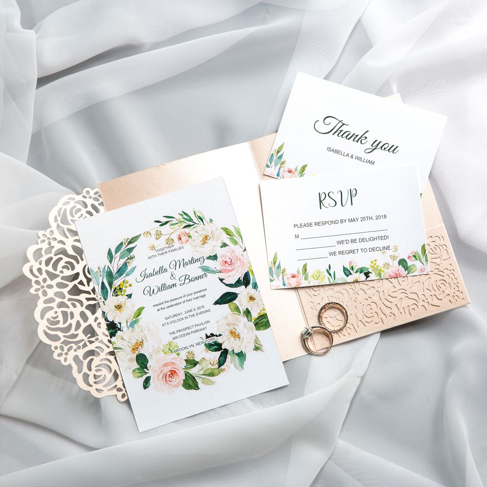 The beautiful florals in shades of greens and pinks are held inside a glittery gold laser cut fold, making you a feeling of nostalgic