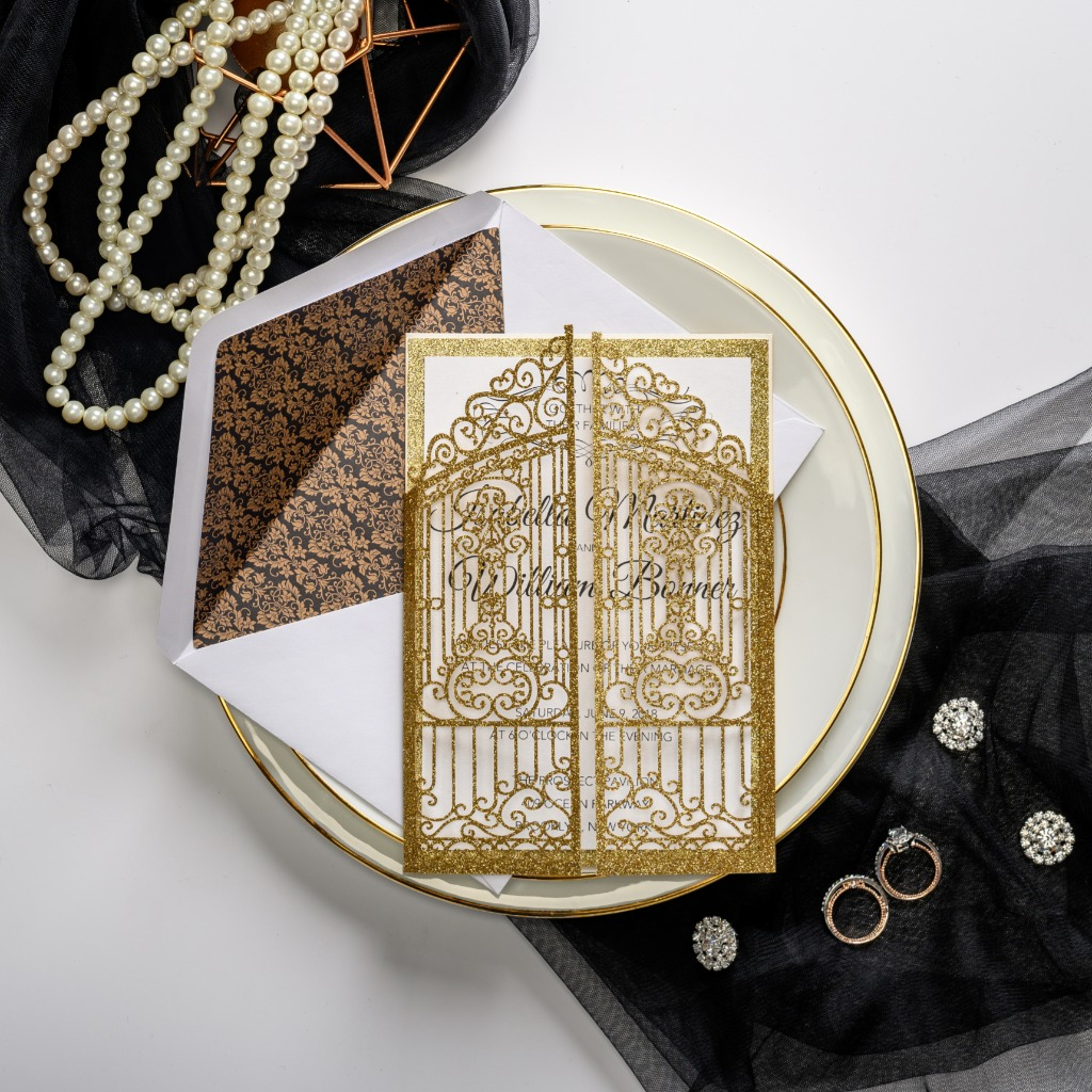 Glitter gold surrounded background looks luxury finished with gold shimmer entry door laser cut design and art deco envelop lining