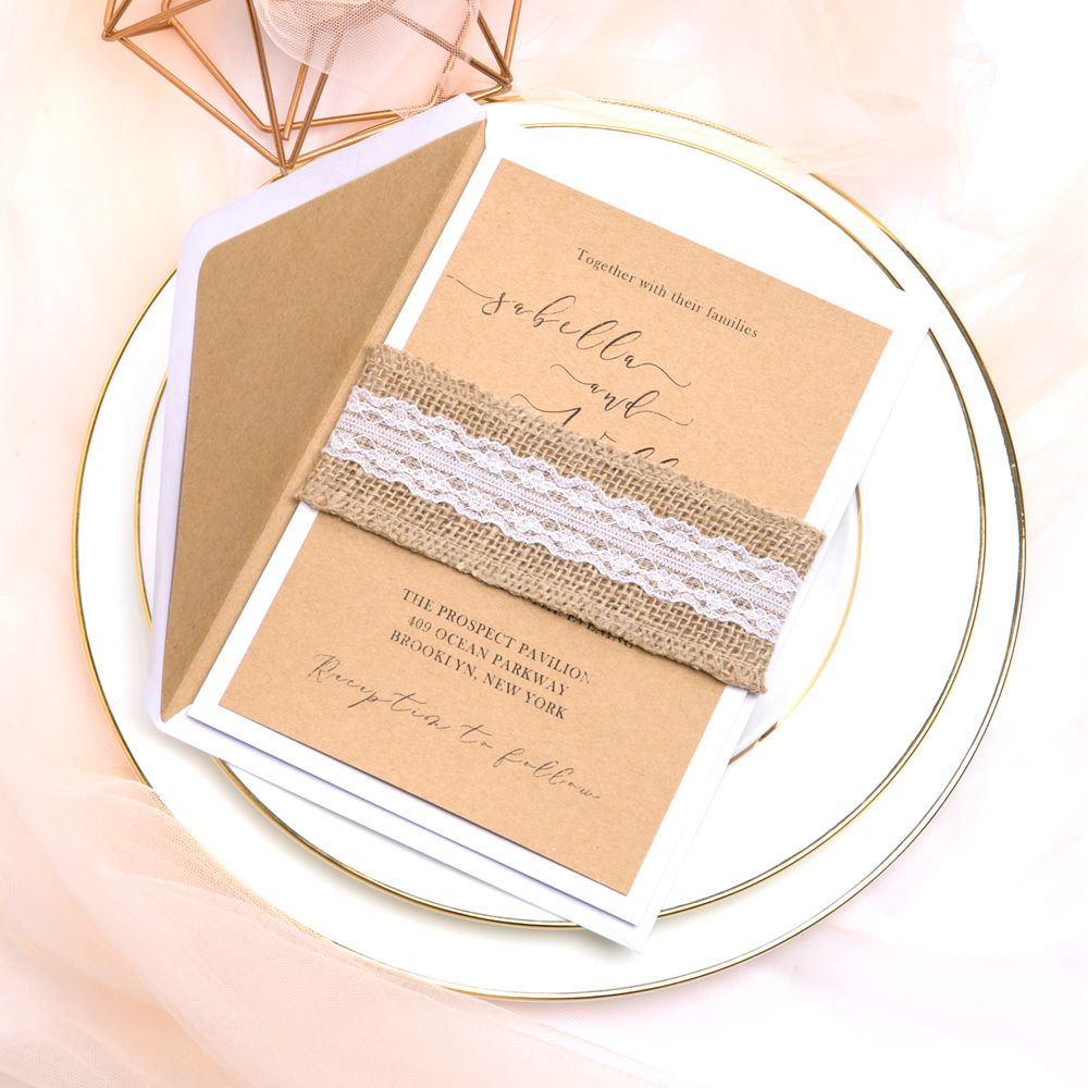 This Kraft paper invitation looks fantastic with DIY burlap and lace belt. It is the perfect companion for rustic weddings in BARN