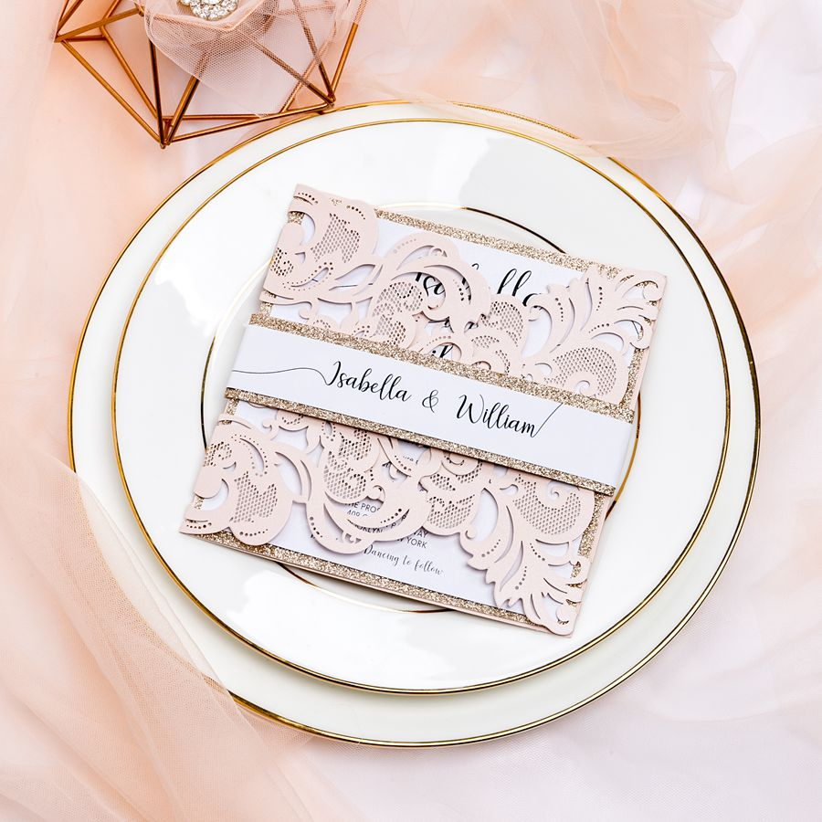 Soft blush laser cut invitation brings you the elegant theme of a spring and summer garden wedding! We especially like the shiny gold