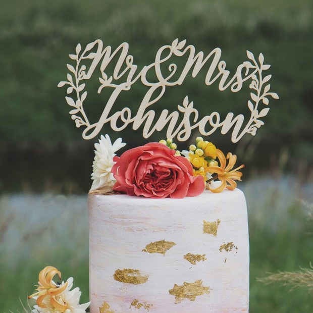 Custom cake topper from Thistle & Lace