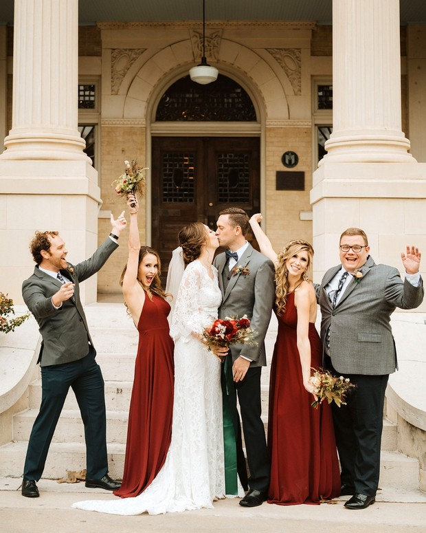 red and grey wedding party