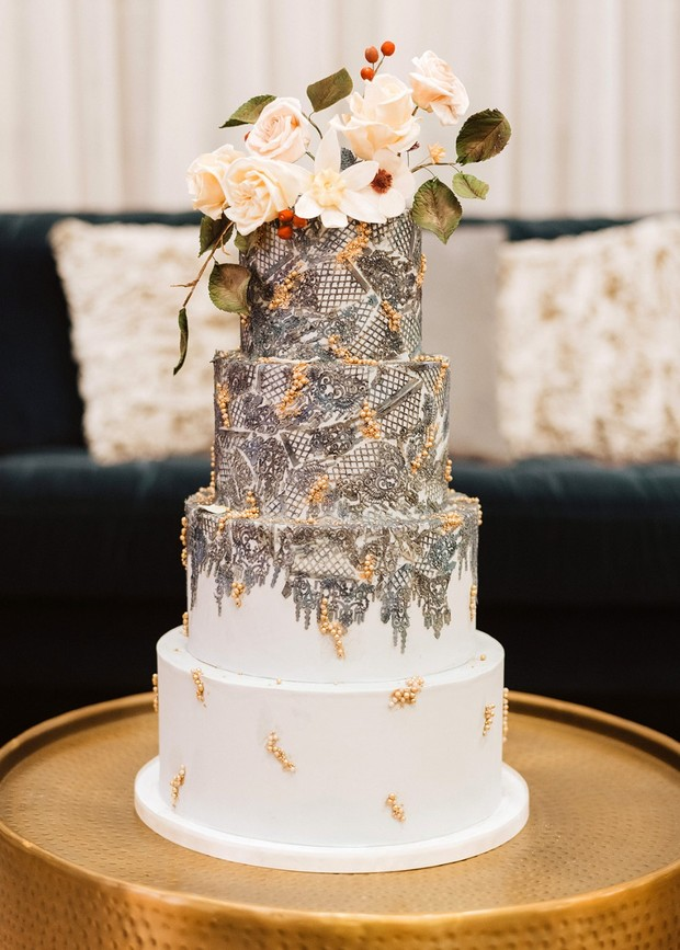 dramatic silver and gold wedding cake