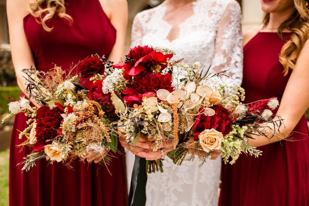 red and gold wedding bouquets