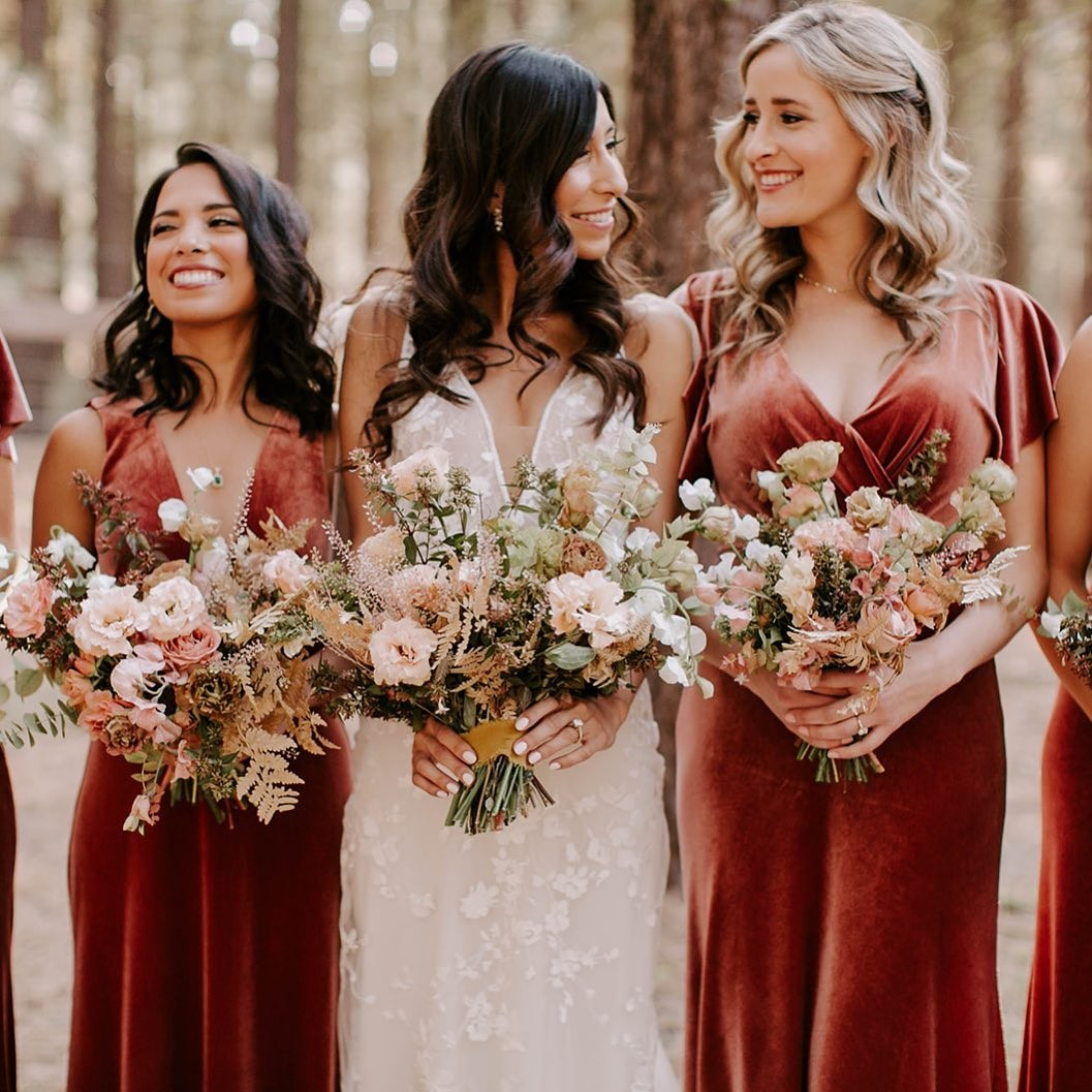 An Autumnal Boho Wedding with Rust Bridesmaid Dresses, Lush Fall Florals and Bronze Details