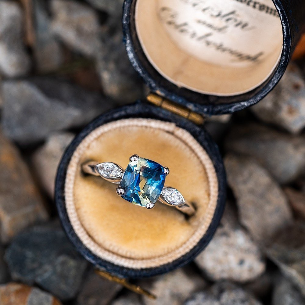 2 Carat Bi Color Sapphire Engagement Ring w/ Marquise Diamonds. Tap photo for a link to purchase. Sku A16632.