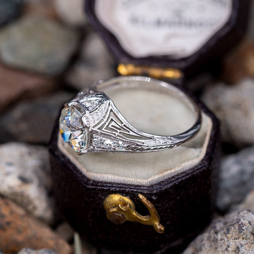 Authentic Art Deco Engagement Ring, Circa 1920s. Tap first photo for a link to purchase. Sku RR60244.