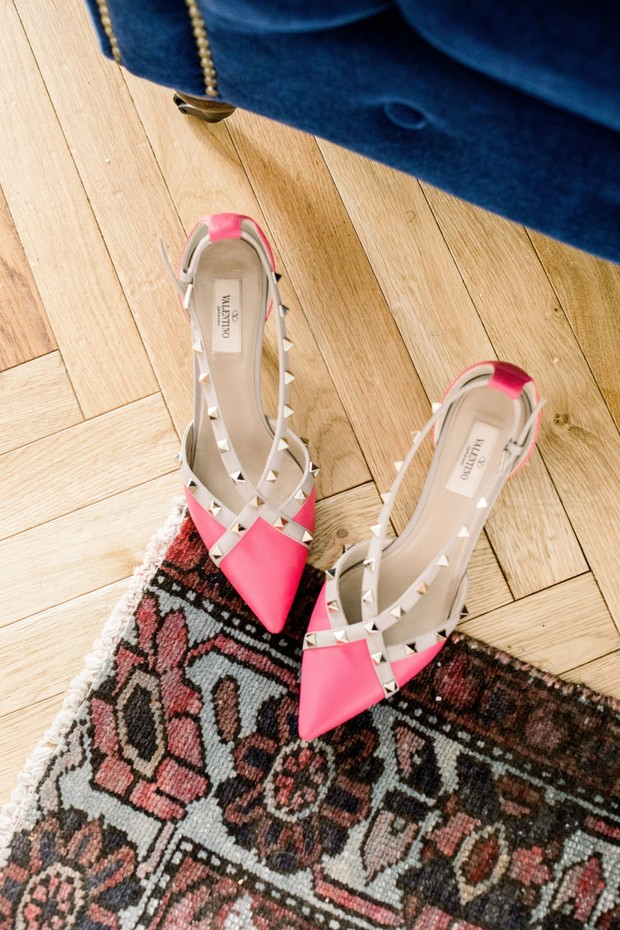 hot pink studded wedding shoes