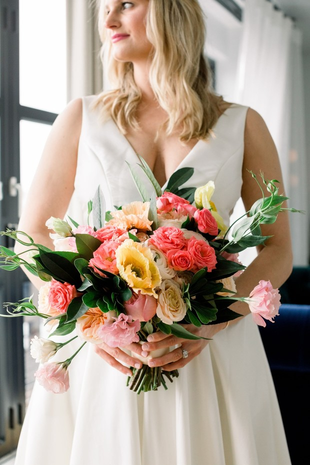 bridal bouquet in pink and yellow