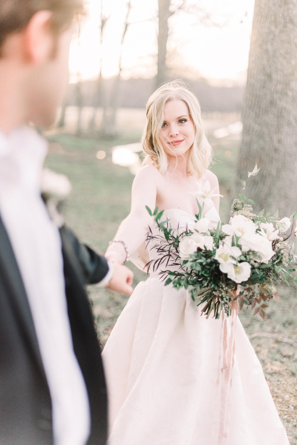 Dreamy + Fresh Winter Wedding Shoot at Harvest Hollow Farm | bride's finery: Lea-Ann Belter Bridal Lucille gown and Toni Federici