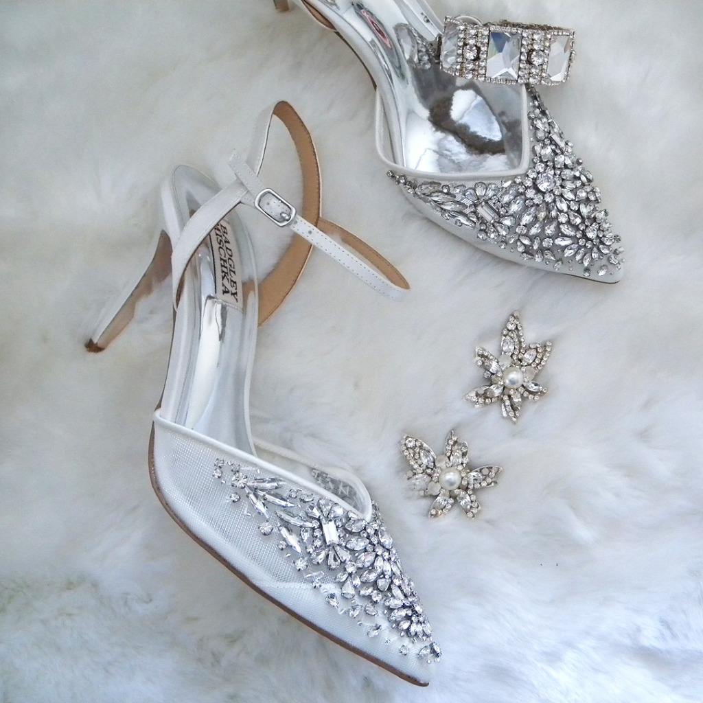 Winter wedding essentials. Gorgeous sparkling wedding shoes and fabulous statement earrings. Shoes by Badgley Mischka, earrings &