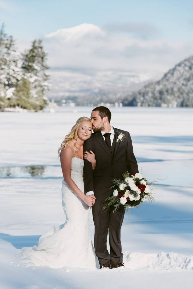 sunny and snowy winter wedding couple at Lake Placid