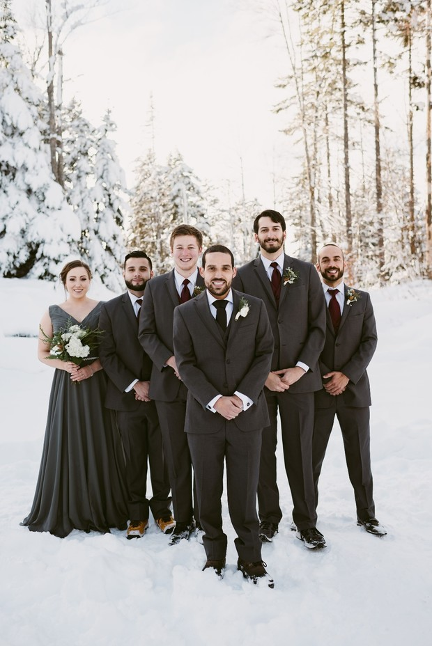 winter groomsmen and woman in grey