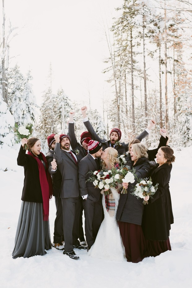 Snowy winter wedding at Lake Placid New York