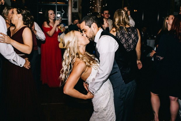 wedding dance party and wedding kiss