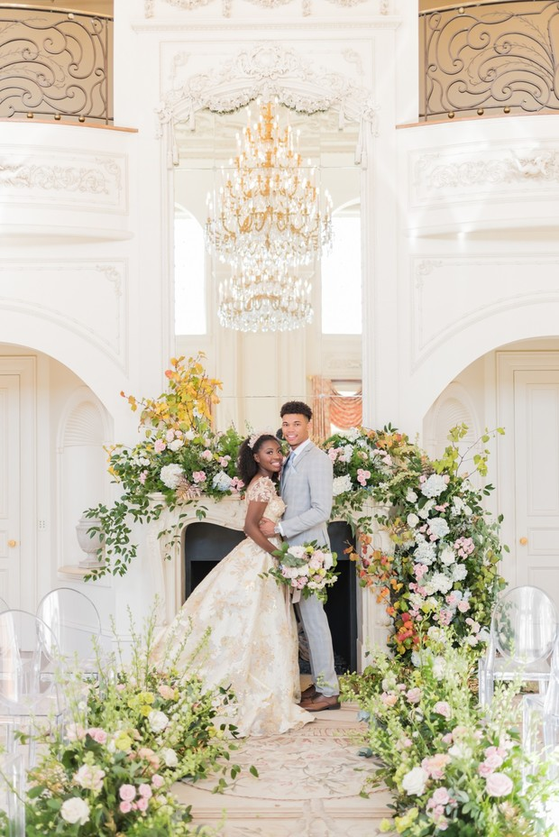 Flower filled French Chateau springtime wedding ideas