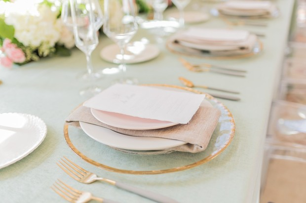 gold and pastel pink and green wedding place setting