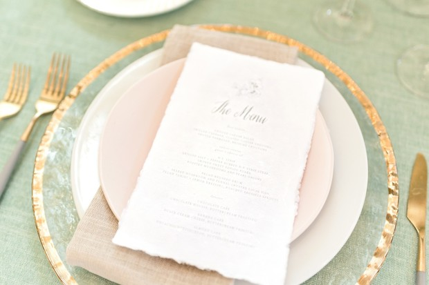blush soft green and gold place setting