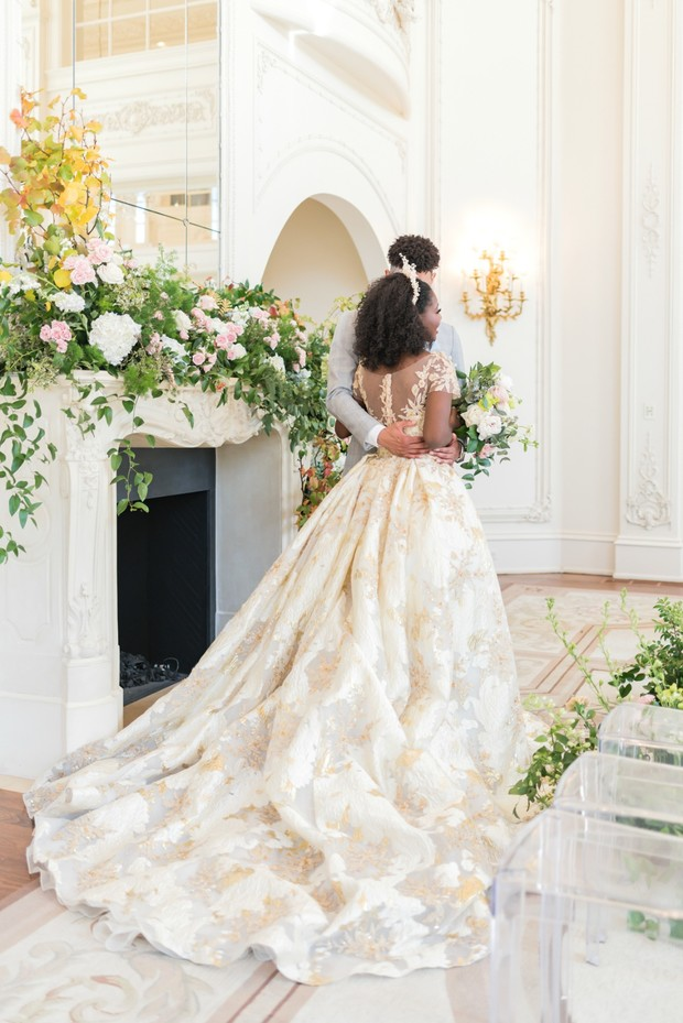 elegant gold and white wedding dress from Weddings by Debbie