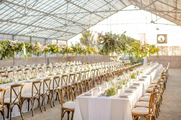 wedding reception at a greenhouse