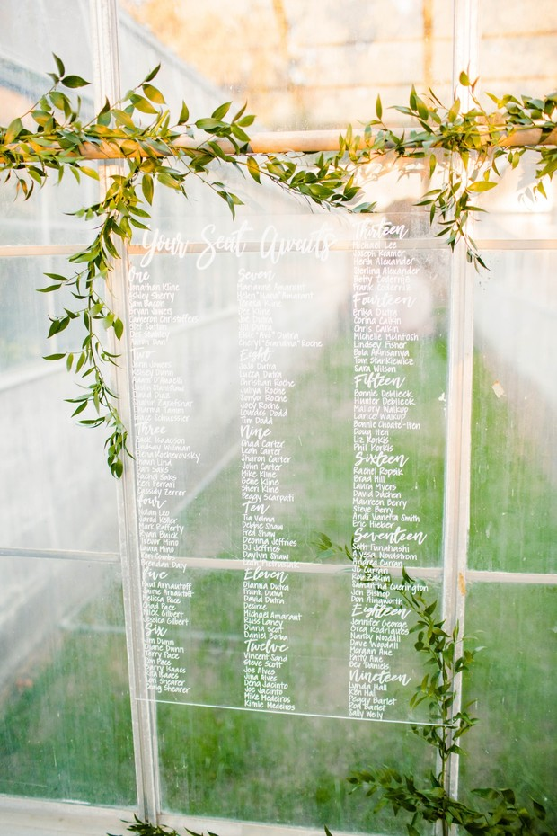 clear acrylic seating assignment sign